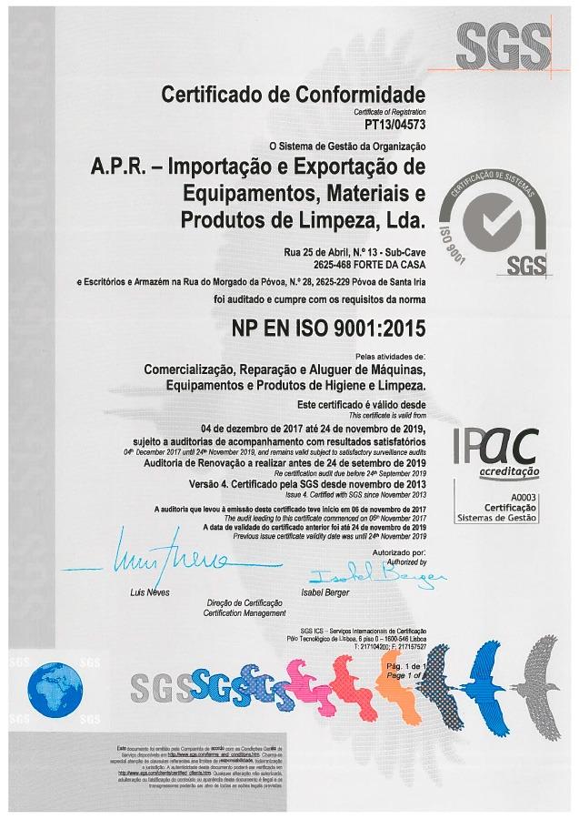 SGS - Certificado de Conformidade ISO9001 - Grupo APR